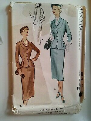 1952 McCall's Printed Pattern 8813 Womens 2 Piece Nipped Waist Suit Size 16