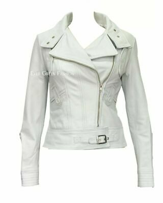 Supermodel Ladies SEXY CLASSIC White Biker Style Soft Leather Awesome Jacket