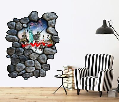 3D Mural Tattoo with Clock 120cm New Year Year's Eve Skyline Europe World Map