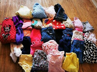 Massive Bundle Of Baby Girls Clothes Age 6-9 Months 30+ Items Tops Cardigans...
