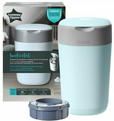 Tommee Tippee Twist & Click Nappy Nappies Change Disposal Sangenic Tec Bin Blue