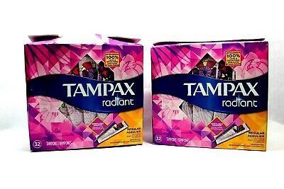 (2) - Tampax Tampons Radiant Plastic Applicators Unscented, Regular (64ct)