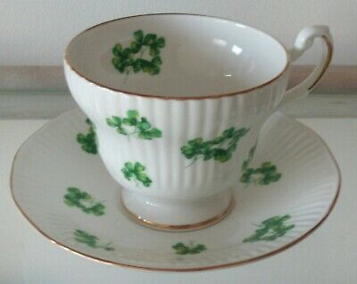 Royal Dover Fine China SHAMROCK Gold Trim Cup Saucer England
