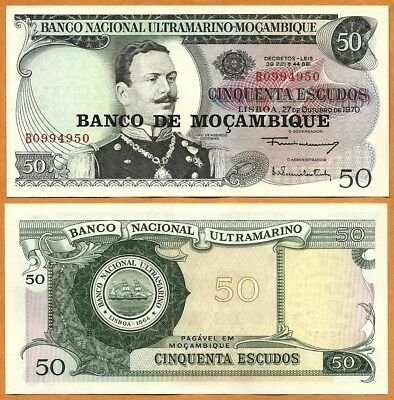 Set of 2 Different Bank Notes from Mozambique 50 /& 100 Escudos Uncirculated