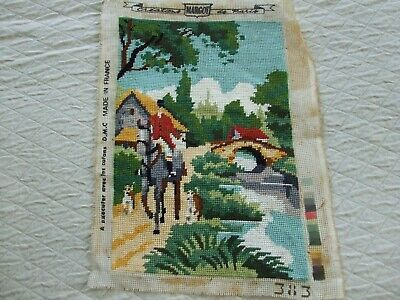 Vintage Needlepoint Featuring Horse & Rider With Hunting Dogs