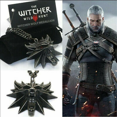 Game The Witcher Wild Hunt III Necklace Wolf Medallion 3 Head Men Pendant Geralt