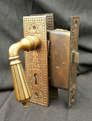Antique Vintage Victorian Bronze Interior Door Lockset Handle Pull Plate Lock
