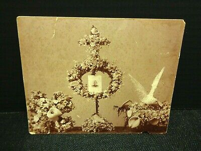 Memorial for Woman Photo Remembrance Post Mortem Floral Dove HTF