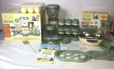 Magic Baby Bullet Food Blender Processor System Lot Turbo Steamer Extra Storage