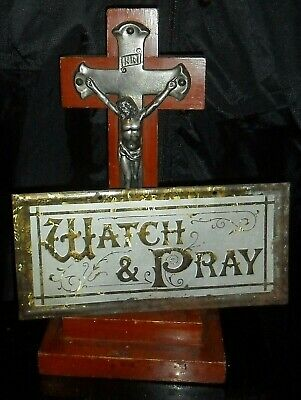 "old cast metal Crucifix on Timber Stand, Large 10"" old Church pce c1930-50 vgc"