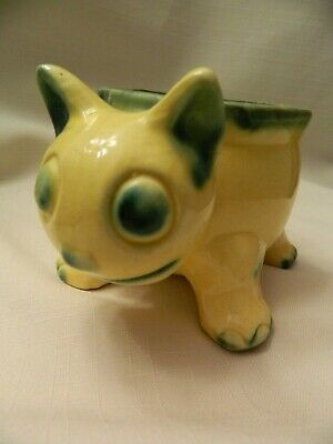 Vintage Art Pottery Yellow With Green Cat Planter - Japan - Cute