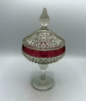 Vintage Indiana Glass Diamond Point Cranberry Flash Covered Candy Dish/Compote