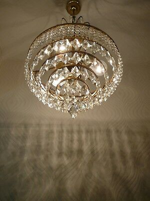 Vintage Brass and Crystal Old Basket Chandelier ..