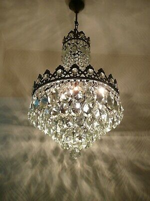 Vintage 3 Light Brass and Crystal Old Basket Chandelier / Lamp