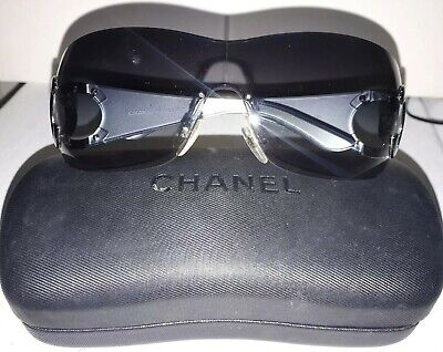 42ceffe14c6a8 AUTH CHANEL LARGE Women's Black Rimless Wrap Sunglasses Silver Cc ...