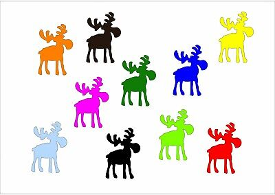 10x Iron-On Patch Sew-On Miniblings 32mm Smooth Moose Reindeer Elche Xmas