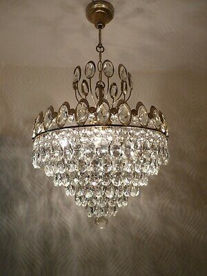 Vintage 6 Light Brass and Crystal Old Basket Chandelier