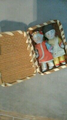 Vintage Japanese Ichimatsu Gofun mini dolls-Boy and Girl with basket $70.00