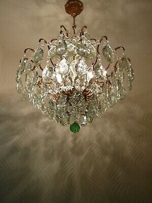 Vintage 6 light Brass and Crystal Old Spider Chandelier
