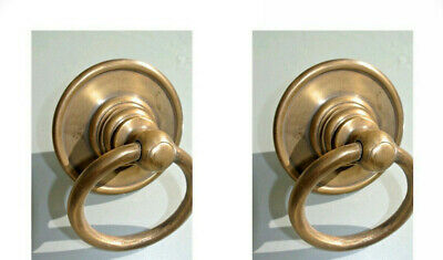 "2 medium round handle ring pull solid brass heavy old vintage OLD style DOOR 3""B"