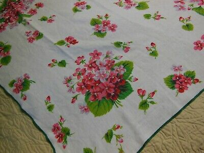 Vintage HARDY CRAFT VIOLA Tablecloth Pink Flowers Green Leaves and Trim