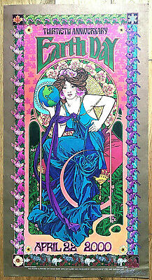 TWENTIETH ANNIVERSARY EARTH DAY POSTER **SIGNED by BOB MASSE** Psychedelic Art