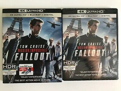 MISSION: IMPOSSIBLE FALLOUT 4K UHD BLU RAY 3 DISC + Digital Copy W/SLIPCOVER