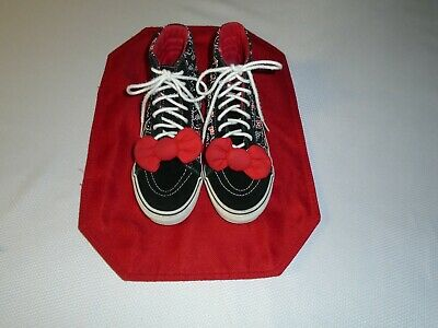 01a0a3dcb Vans Off The Wall Black Red HELLO KITTY High Top Shoes Women's Sz 8.5