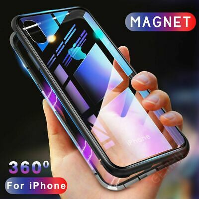 Magnetic Metal Frame Tempered Glass Phone Case Cover iPhone X XR XS MAX 7 8 Plus