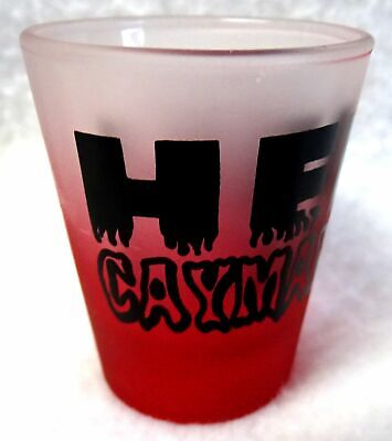 "CAYMAN ISLANDS Shot Glass ""Hell""Shooter Frosted Red 2-1/4"" Jigger"