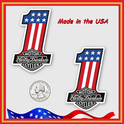 Sparkling New Original Design! Two(2) Harley-Davidson #1 American Flag Stickers