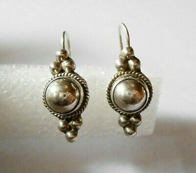 Vintage Mexico Sterling Silver Ati Pierced Earrings Signed