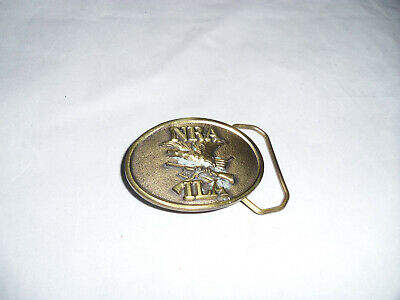 Vintage 1970s NRA ILA Solid Brass Belt Buckle Wright To Bear Arms Eagle