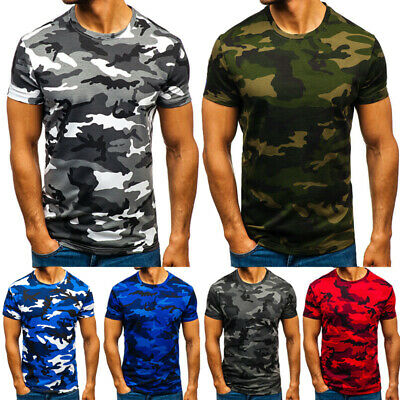 Mens Camo T Shirt Military Short Sleeve Army Camouflage Blouse Sports Casual Top
