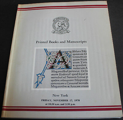 Christie's New York - Printed Books & Manuscripts 1978 Scarce Reference