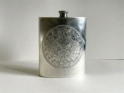 Antique Sterling Silver Flask.  Ormex Mayan Calendar