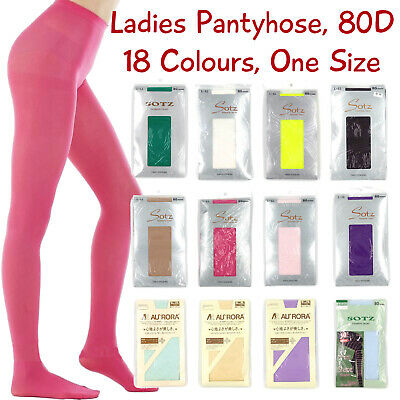 Ladies Coloured Pantyhose 80D, Full Length, One Size, 18 Colours, Free Postage