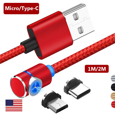 360° Magnetic Elbow Braid Micro USB Type C Cable Adapter Charging For Android