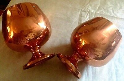 Vintage Set Of 2 Coppercraft Guild Large Pedestal Brandy Snifters / Goblets-Euc