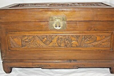 "Chinese Vintage Antique Carved Blanket Chest Art Wood  27 1/2"" x 16"" x 13 5/8"""