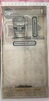 Sizzix Tim Holtz Framelits 'Coffee Time' 4 Dies 3 Stamps 1 Embossing Folder