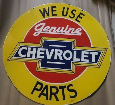 Porcelain Genuine Chevrolet Parts DOUBLE SIDED Porcelain SIGN 36 Inches Round