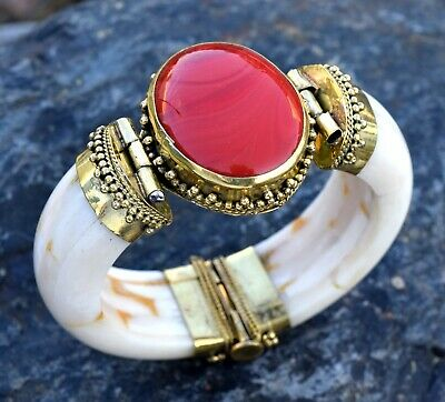 Red Stone Hinge Bone Bracelet Bangle Boho African Ethnic Gypsy Tribal Jewelry