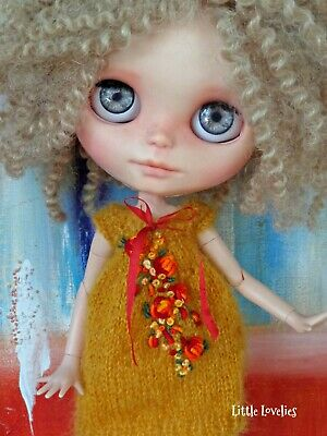 """BLYTHE or Pullip DOLL Dress - OOAK - """"Mel""""  fluffy soft mohair with 3D roses"""