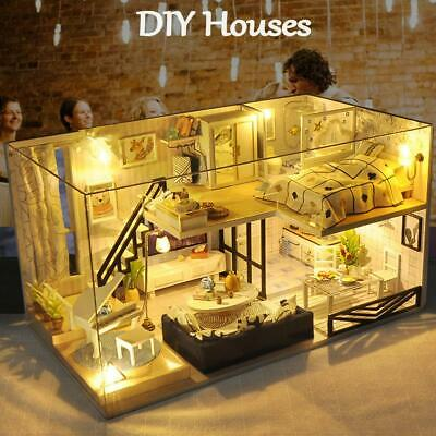 DIY LED Loft Apartments Dollhouse Miniature Wooden Furniture Kit Doll House Toy