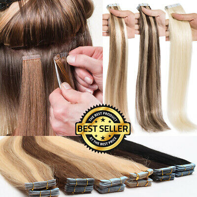Tape In Remy Virgin Real Human Hair Extensions Brazilian 20/40/60PCS 4P27 60 AU