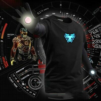 LED T-Shirt Iron Man Tony Stark Light Up Arc Reactor  Avengers Thor Hulk Black