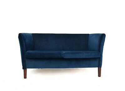 Vintage Danish Navy Blue Velvet Two Seater Sofa Midcentury 1970s