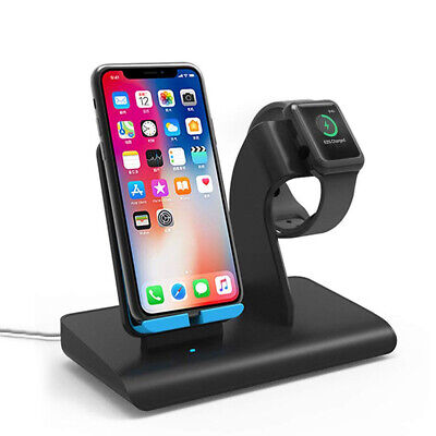 US 2 in 1 Fast Wireless Charging Dock Stand Charger For iWatch For Samsung S10+