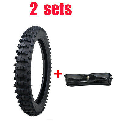 "2x 70/100 - 17"" inch Front Knobby Tyre Tire Tube PIT PRO BIGFOOT Trail Dirt Bike"
